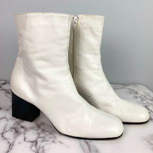 Nine West Vintage White Leather Heeled Boots